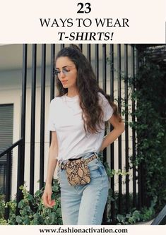T-shirt outfits! I think, this is the most common thing that we wear at hot summer days! Because it is really easy to combine t-shirts with basic clothes. Basic Outfits, Summer Outfits, Casual Outfits, Fashion Outfits, We Wear, How To Wear, T Shirts With Sayings, Shirt Outfit, Cool T Shirts