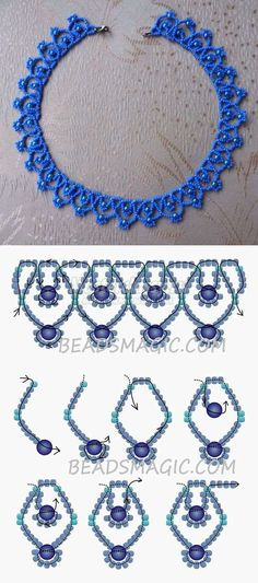 Free Pattern for Necklace Blue Sky - Free Pattern for Necklace . - Free pattern for necklace Blue Sky – Free pattern for necklace Blue Sky 11 / mm golyó - Beaded Necklace Patterns, Seed Bead Patterns, Beading Patterns, Loom Patterns, Bracelet Patterns, Knitting Patterns, Embroidery Patterns, Beading Ideas, Art Patterns