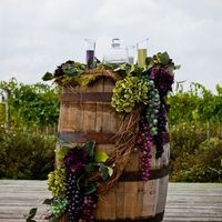 """Barrel """"Altar"""" for sand ceremony for a vineyard inspired wedding, by White Iris Designs"""