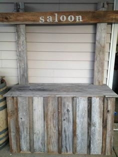 Our interchangeable use bar/stand. Lemonade, saloon, bar, smores bar, popcorn bar...made it from wood from my Dad's...