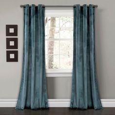 Slate Blue Prima Velvet Curtain Panel Set, 84 in.