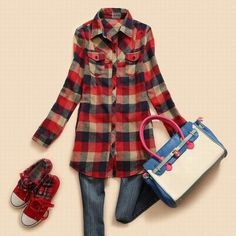 Slimming Turn-Down Collar and Plaid Long Type Shirt For Female, RED, M in Blouses | DressLily.com
