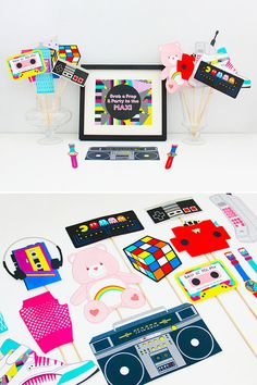 80s Party Decorations 80s Photo Booth Props Printable 80s