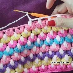 Beau Crochet, Puff Stitch Crochet, Love Crochet, Beautiful Crochet, Crochet Flowers, Knit Crochet, Crochet Stitches Patterns, Knitting Patterns, Knitting Tutorials