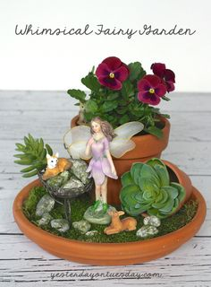 If you& looking for easy DIY garden projects, this Fairy DIY Garden Decor will add a magical touch to your favorite outdoor space. This DIY garden art is easy to put together and will look so adorable among your landscaping. Indoor Fairy Gardens, Fairy Garden Plants, Mini Fairy Garden, Fairy Garden Houses, Miniature Fairy Gardens, Fairy Gardening, Succulent Gardening, Flower Gardening, Indoor Gardening