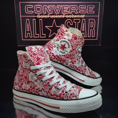 Converse Womens All Star Floral Shoes Red size 5 High Top Trainers 37.5 US 7 | eBay