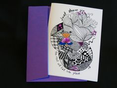 "Blank Art Card - ""Show Up"" - 5x7 - Encouragement - Friendship - Motivational - Meditation - Yoga - Inspired by Zentangle by CreateThriveGrow on Etsy https://www.etsy.com/listing/255112071/blank-art-card-show-up-5x7-encouragement"