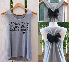 When you wish upon a star bow Tank Top. Cinderella tank by on Etsy (null) Bow Tank Tops, Bride Tank Tops, Bride Shirts, Disney Shirts, Disney Tank Tops, Disney Clothes, Team Braut Shirts, Bridesmaid Tank Tops, Bridesmaids