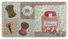 Con C de Corazón ♥: Panel de Costura Sulky terminado Patchwork Patterns, Applique Patterns, Wool Applique, Embroidery Applique, Country Quilts, Sewing Appliques, Quilted Wall Hangings, Button Art, Sewing Rooms
