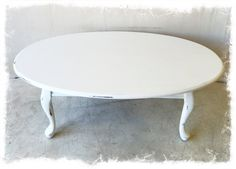 Antique Solid Wood White Distressed Oval Coffee Table with Cabriole Legs $165