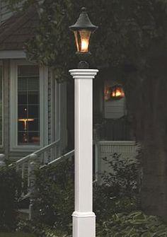 New England Arbors Madison Lamp Post In White