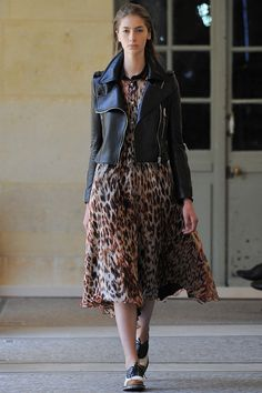 Black Biker Jacket and Leopard Print Dress - Bouchra Jarrar | Fall 2014 Couture Collection | Style.com