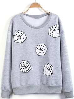 Grey Long Sleeve Dice Print Loose Sweatshirt US$22.13
