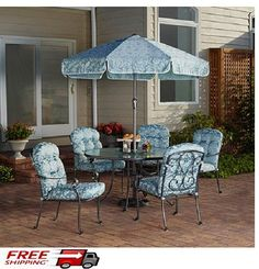 Patio Dining Set 6 Pcs Round Glass Top Table Blue Seats Outdoor Garden Furniture #DiningSet