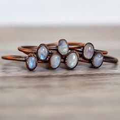 MOONSTONES ♥️ Moonstone and Copper Rings available in our 'Gems and Stones' and 'Copper' Collections || www.indieandharper.com