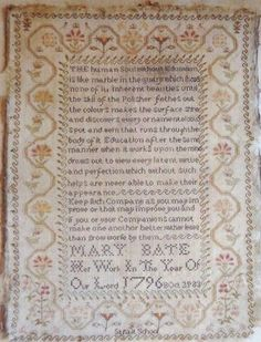 """From Shakespeare Peddler is the wonderful reproduction sampler titled """"Mary Bate 1796"""". She purchased and owns the original sampler so crea..."""