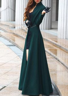 Elegant Long Sleeve Zipper Closure Woolen Trench Coat Green | Rosewe.com