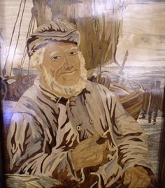 Beautiful marquetry art piece - Portrait of a Sailor.
