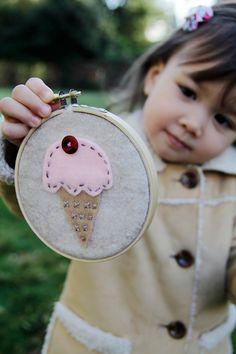 Embroidery Hoop Art, Felt Ice Cream Cone, Pink Scoop, Wall Hanging Nursery Decor by Catshy Crafts. $15.00, via Etsy.