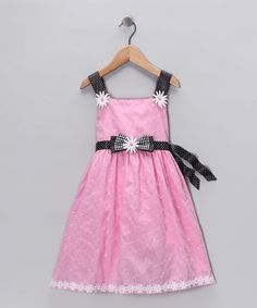 Take a look at this Pink & Black Daisy Appliqué Dress - Girls by So La Vita on #zulily today!