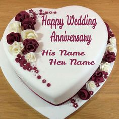 Write Couple Name On Wedding Anniversary Heart Cake.Anniversary Cake Picture Wishes With Greetings Online.