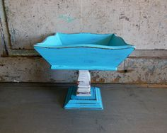Turquoise and White Painted Pedestal Bowl Compote Distressed Wood by turquoiserollerset on Etsy