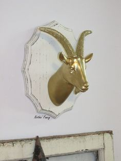 Gold Glitter Goat Head on Plaque Faux by NothinFancybyApril