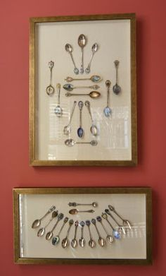 "A collection of spoons. ""The collection was gathered by Linda's grandparents on their world tour in the early 1900's and added to by Linda's mother. There are over 100 spoons and while some remain in the old display table, I really like the way they look in frames."""