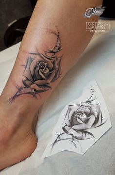 rose thigh tattoos for women Ankel Tattoos, Bff Tattoos, Future Tattoos, Body Art Tattoos, Tatoos, Rose Tattoos For Women, Sleeve Tattoos For Women, Tattoo Designs For Women, Thigh Tattoos For Women
