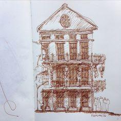 French quarter sketch #brownink #leuchtturm #lamysafari #frenchquarter #neworleans #pensketch #archicute #architecture #archisketcher #sketchbook #instagram by charlesmilioto