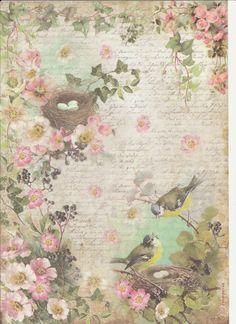 Ricepaper for Decoupage Decopatch Scrapbook Craft Sheet Birds and Peach Blossom   eBay