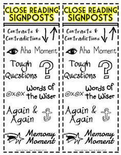 Close Reading Signposts Bookmark (Notice and Note) -- Started reading this this year! Close Reading Strategies, Writing Strategies, Reading Resources, Reading Skills, Teaching Reading, Guided Reading, Teaching Ideas, Learning, Middle School Reading