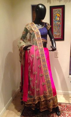 Fuscia Velvet Lehenga, A Stunning Look! Sabyasachi Lehengas, Sari, Velvet, Fashion, Saree, Moda, Fashion Styles, Fashion Illustrations, Saris