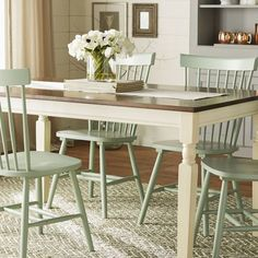 Incorporate cottage-cool warmth in your dining space with this dining room table. A two-tone finish serves up twice the charm and character. Painted Dining Room Table, Dinning Room Tables, Dining Table In Kitchen, Kitchen Chairs, Table And Chairs, Kitchen Decor, Dining Chairs, Painted Farmhouse Table, Shabby Chic Kitchen Table