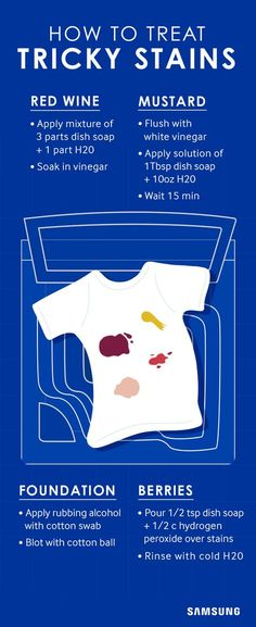 These DIY solutions help you remove tough stains from your clothes with ingredients found around the home. Use this cheatsheet for foundation, mustard, berries, or red wine spills, then wash as usual. Save time and trouble with activewash, the built-in sink from Samsung that lets you pre-treat right at your washer.
