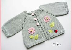 Pink elephant sweater silver grey baby girl jacket by Tuttolv Blue baby sweater with mouse l Baby Knitting Patterns, Knitting For Kids, Crochet For Kids, Knitting Designs, Baby Patterns, Knit Baby Sweaters, Knitted Baby Clothes, Baby Vest, Baby Cardigan