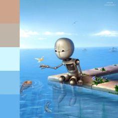 Robot con los pies sumergidos en el agua