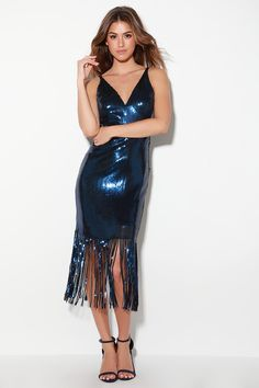 b2779ef7 Anjou Rose Gold Sequin Fringe Midi Dress in 2019 | My Style ...