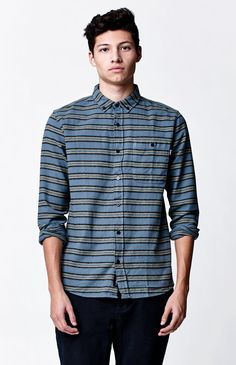 6f8b9fa677b Hooked on Medford Stripe Long Sleeve Button Up Shirt that I found on the  PacSun App