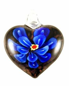 Murano Glass Blue Flower Heart Pendant Bleek2Sheek. $8.99. Style: Pendant. Does not include chain. Colors: Blue, Black & Gold. Measures 2 in long. Design: Heart. Save 55% Off!