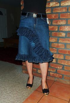 Cute ruffle jean skirt