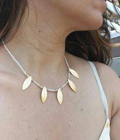 Gold leaf necklace, beaded gemstone necklace, #jewelry #necklace @EtsyMktgTool http://etsy.me/2y45pjG #goldleafnecklace #ethnicnecklace