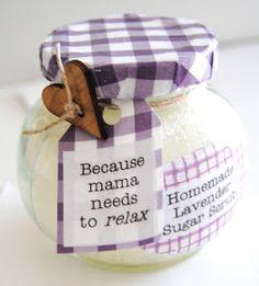 Maybe Matilda: Baby Shower Gift :: Homemade Sugar Scrub in Decorated Jars