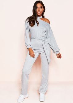 0c435a9beac4 Missyempire - Cynthia Grey Cut Out Tie Jumpsuit Belt Tying, Jumpsuits,  Overalls, Monkeys