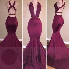 $169.99 Long Sexy Burgundy Mermaid V-Neck Sleeveless Backless Appliques Prom Dresses 2018 Open Backproducts_id:(1000075483 or 1000075309 or 1000075170 or 1000074421 or 1000073444)