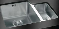 Undermounted kitchen sinks are for solid surface kitchen worktops such as granite, quartz, Corian and hard wood. Kitchen Sink Taps, Glass Kitchen, Kitchen Worktops, Sink Design, Stainless Steel Sinks, Undermount Sink, Corian, Mixer Taps, Chrome Finish