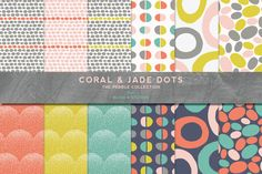 Coral & Jade Digital Scrapbook Dot Patterns for Paper Crafts and Graphic Backgrounds by Blixa6Studios on Etsy