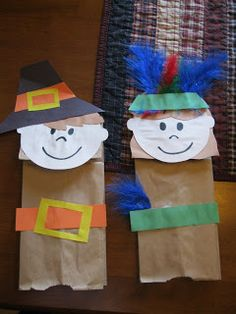 Here are some cute Thanksgiving Pilgrims and Indians puppets made from paper lunch bags. Not only a craft, these can be used to do a rol...