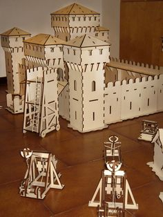 Laer cut wooden model castle