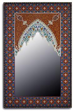 Moroccan home decor: Rectangular Hand Painted Mirror Badia Design Store